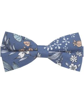 denim blue with floral bow tie