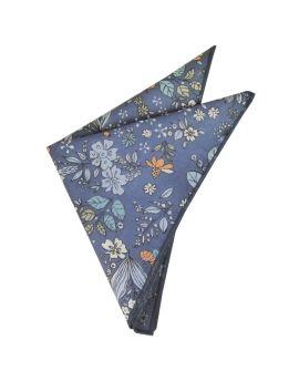 denim blue floral pocket square