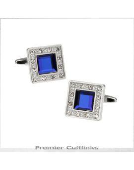 Diamante Edge With Royal Blue Inset Cufflinks