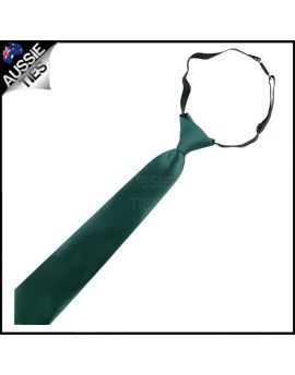 Forest Dark Green Junior Boys Elasticated Necktie