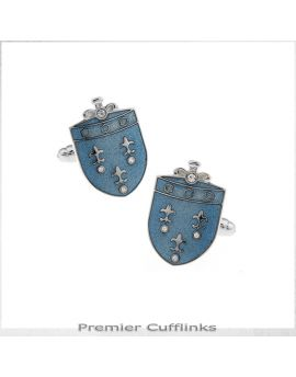 Feur De Lis on Blue Crest Cufflinks