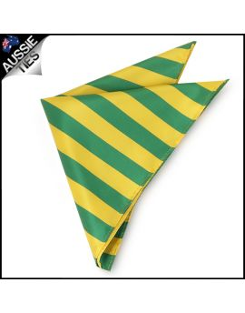 Mens Green & Yellow Striped Pocket Square Handkerchief