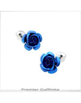 Mid Blue Floral Stud Cufflinks