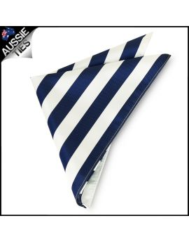 Mens Navy Blue & White Striped Pocket Square Handkerchief