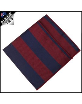 Navy & Dark Red Stripes Pocket Square