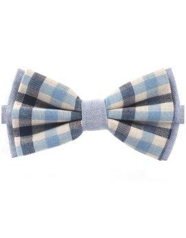 Navy & Light Blue Check Bow Tie