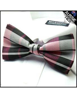 Pink & Grey Tartan Bow Tie