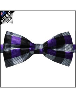 Purple Black & Grey Tartan Bow Tie