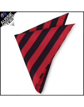 Red & Black Stripes Pocket Square Handkerchief