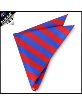 Mens Red & Blue Striped Pocket Square Handkerchief