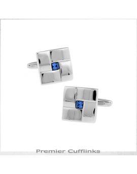 Ridged Silver with Blue Inset Cufflinks