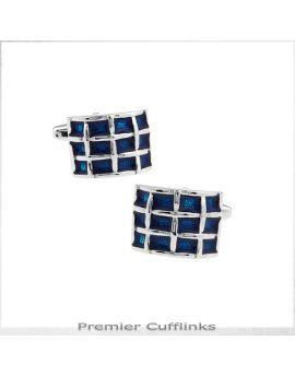 Rounded Azure Blue Quadrants Cufflinks