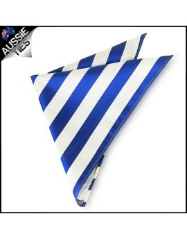 Mens Royal Blue & White Striped Pocket Square Handkerchief
