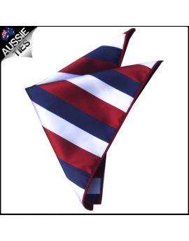 Scarlet, White & Blue Stripes Pocket Square