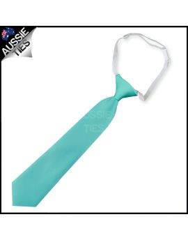Sea Mist Turquoise Green Junior Boys Elasticated Necktie