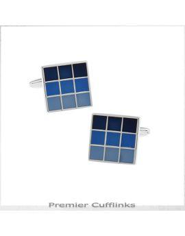 Shades of Blue Checker Board Cufflinks