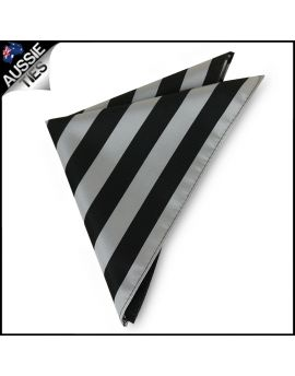 Mens Silver & Black Striped Pocket Square Handkerchief