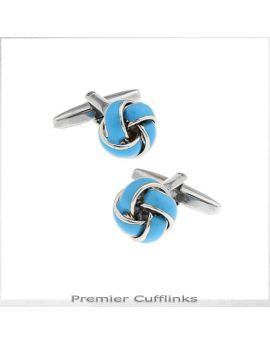 Silver and Sky Blue Knot Cufflinks