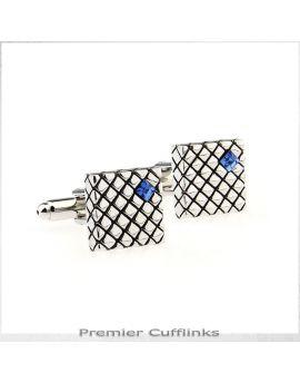 Silver Crosshatch with Blue Inset Cufflinks