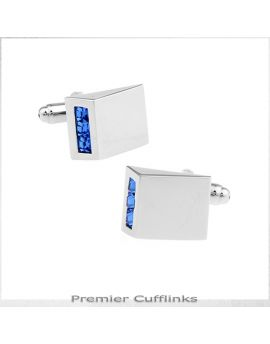 Silver Prism with Blue Crystal Inset Cufflinks