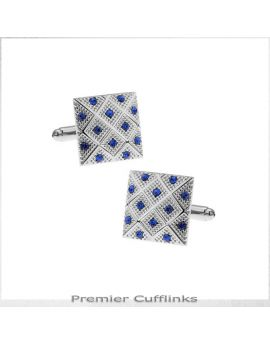 Silver with Blue Diamond Insets Cufflinks