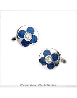 Silver with Blue Petal Cufflinks
