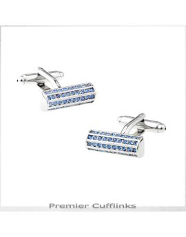 Silver with Blue Studded Crystals Cufflinks