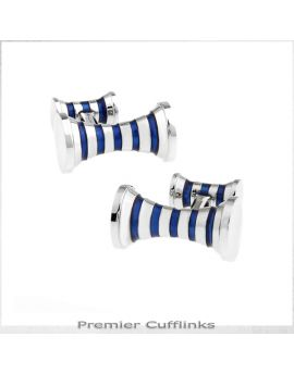 Silver with Navy Blue Cyllinder Cufflinks