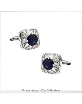 Star Border with Deep Blue Crystal Inset Cufflinks
