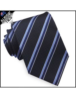 Textured Dark Blue with Cobalt and Midnight and White Stripes Mens Tie
