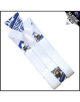 White Mens 3.5cm Suspenders