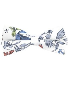 White with Blue, Red & Green Floral Bow Tie