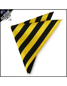Mens Yellow & Black Striped Pocket Square Handkerchief