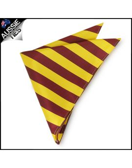Mens Yellow & Maroon Striped Pocket Square Handkerchief